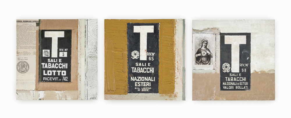 Trio of Tabacchi Signs  2017 30 x 30cm each framed  ·  Oil on found papers Currently Unavailable