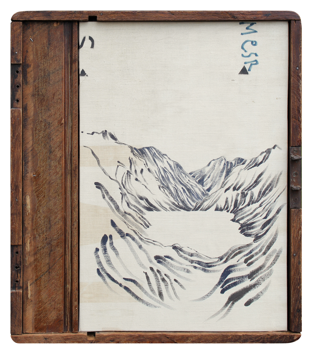 The Pool  2013 34.5 x 40 cm · Gouache on destination signage + wooden tray