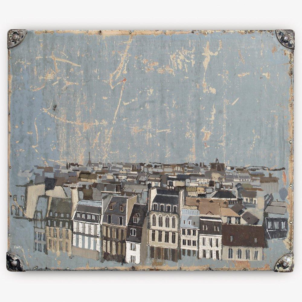 Scratches  (Paris Skyline) 2013 Gouache on box lid