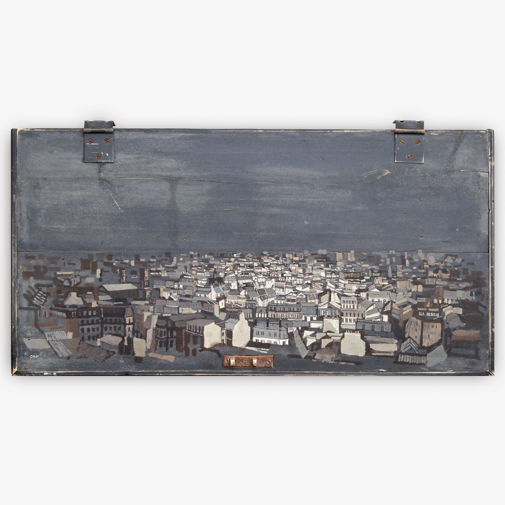 Scattered  (Paris Skyline) 2012 Gouache on travelling-trunk lid