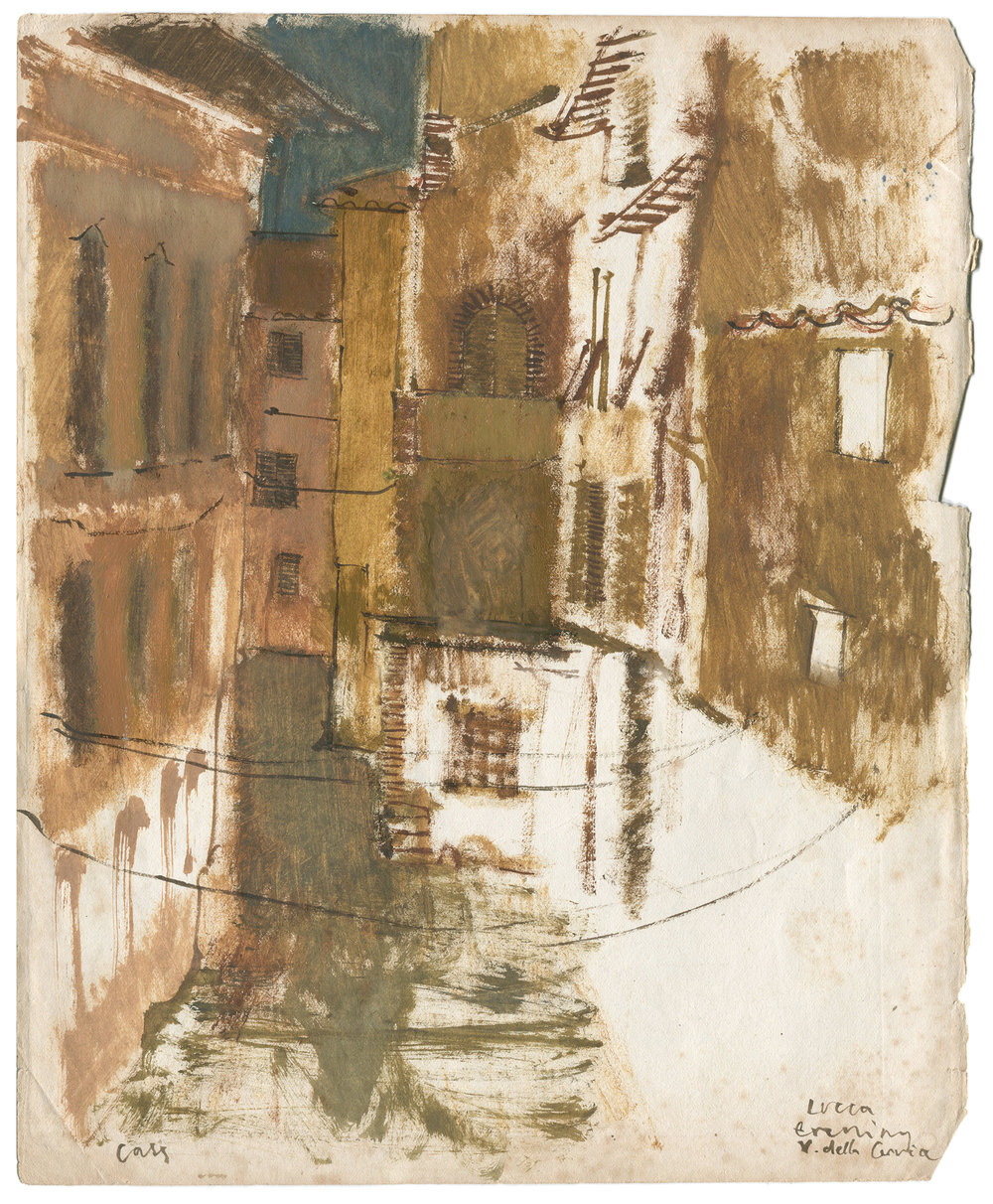 Lucca  from Via Della Cervia Gouache + watercolour on antique A3 paper  Part of a series of Lucca on-location drawings
