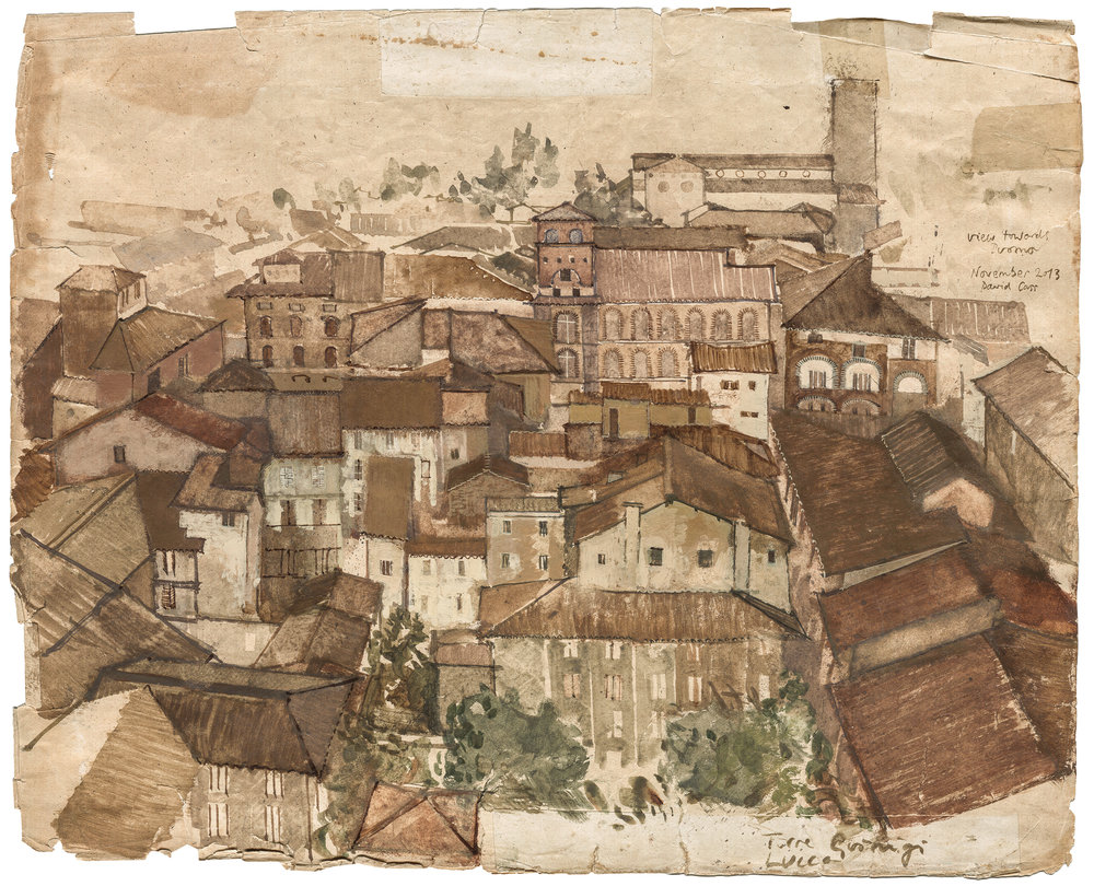 Lucca  from Torre Guinigi Gouache + watercolour on antique paper  Part of a series of Lucca street studies started on location & completed in the studio