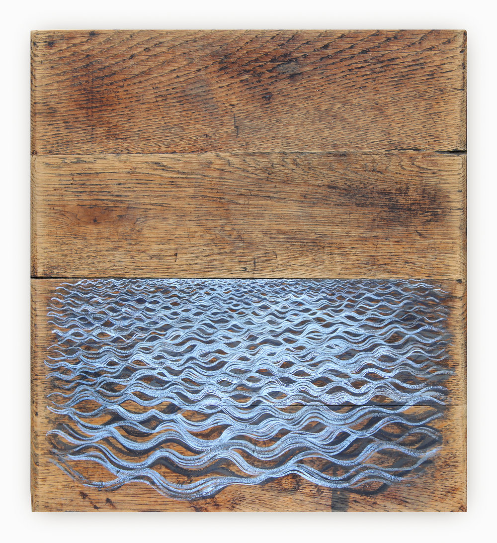 Patches III  2013—2014 35 x 40 cm approx · Gouache on wooden box