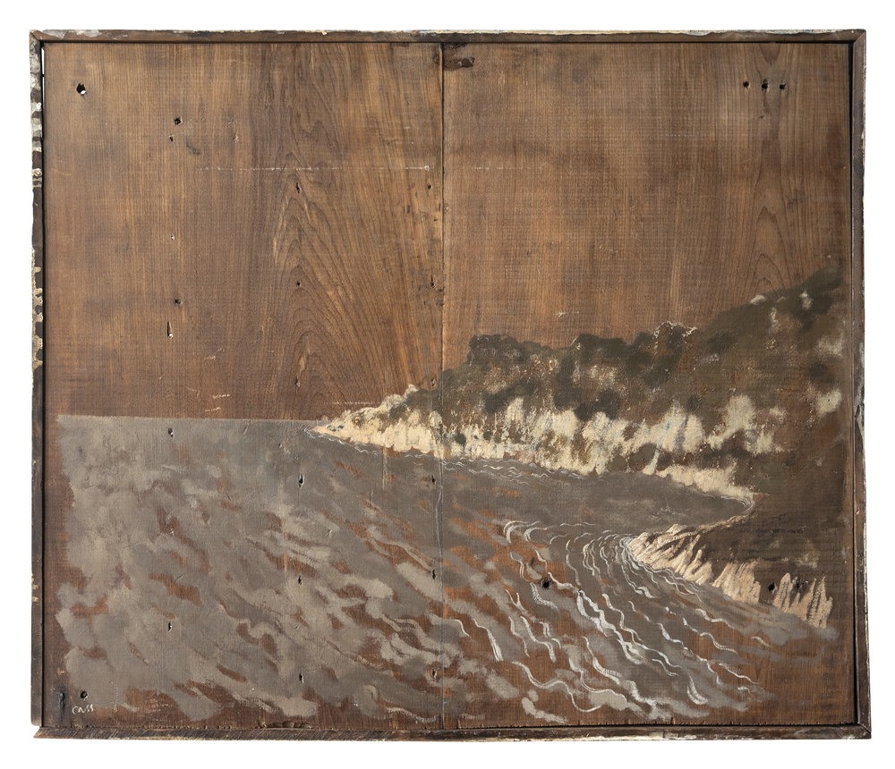 Erosion  2012 66 x 56 cm · Waxed gouache on antique board  Reserve: info@davidcass.art ·  Available for purchase