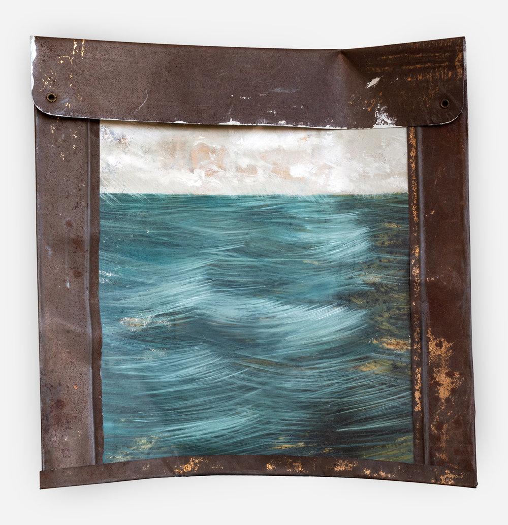 Boundary  (from the ancient Greek —  horizon /   hóros)  2019 · Oil on folded sign · 25 x 25 cm