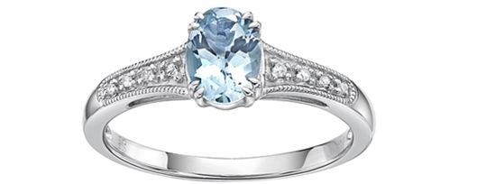 Aquamarine oval shape with 0.04 ctw of Diamonds                                                 10k white gold ring