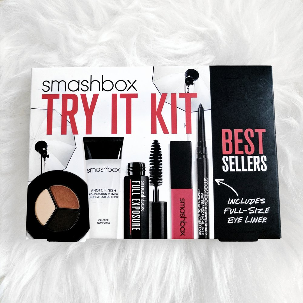 A collection of Smashbox' best sellers (valued at $64) including their Photo Finish Foundation Primer, Full Exposure Mascara, Photo Op Eye Shadow Trio in Filter, Always Sharp Waterproof Kohl Liner in Raven, and Be Legendary Lip Gloss in Disco Rose. All travel sized!