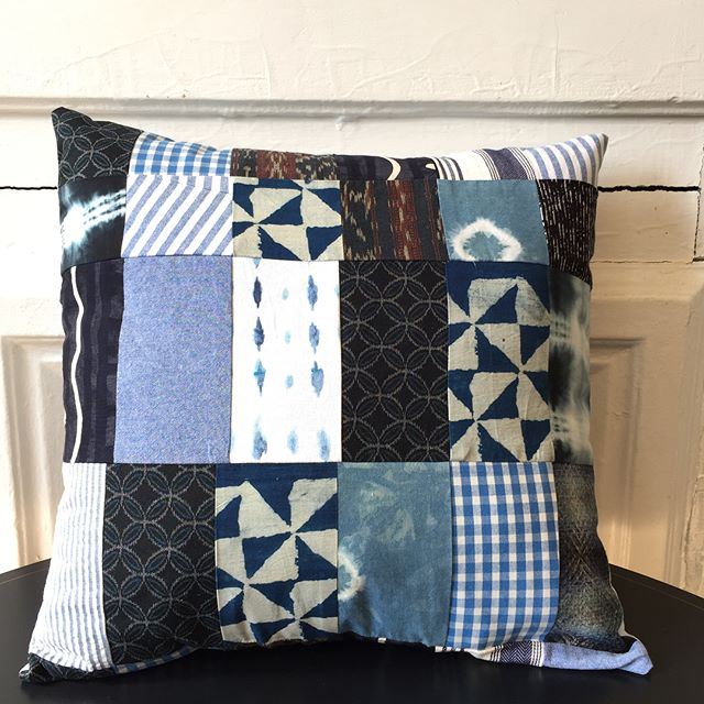 Quilted this shibori pillow. I like to put the scraps to good use! Been collecting blue indigo fabric for years. This is the sister to my huge shibori wallhanging in my living room!  #shibori #quilt #quilting #pillow #quiltedpillow #handmade #interiordesign #textileseaign #brooklyn #artist #indigo #backtothecraft