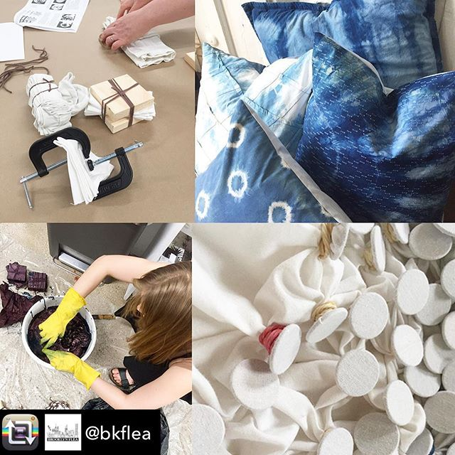 I'll be @bkflea @industrycity on June 2. Dye a pillow to take home link in bio . . . #shibori #indigo #indigotiedye #bkflea #tiedye #workshop #industrycity #thingstodoinnyc #backtothecraft #catherineruhl #onyxmatter #pillow #textiledesign #naturaldyeing