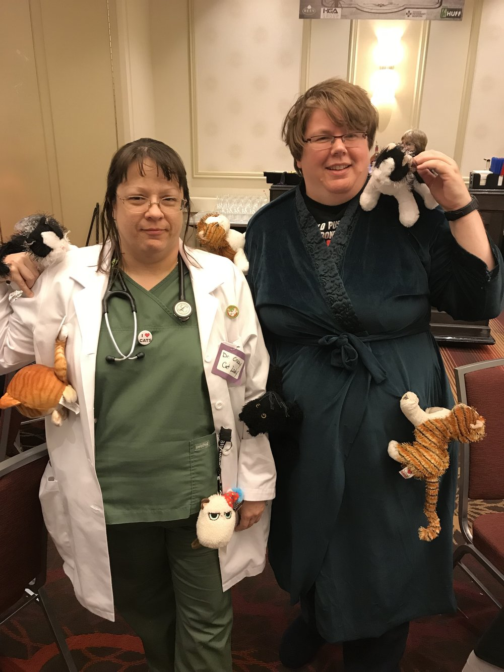 "Alberta Cancer Therapy Subsidization Society (ACTSS) Halloween Gala as ""Crazy Cat Lady"" and ""Crazy Cat Veterinarian"""