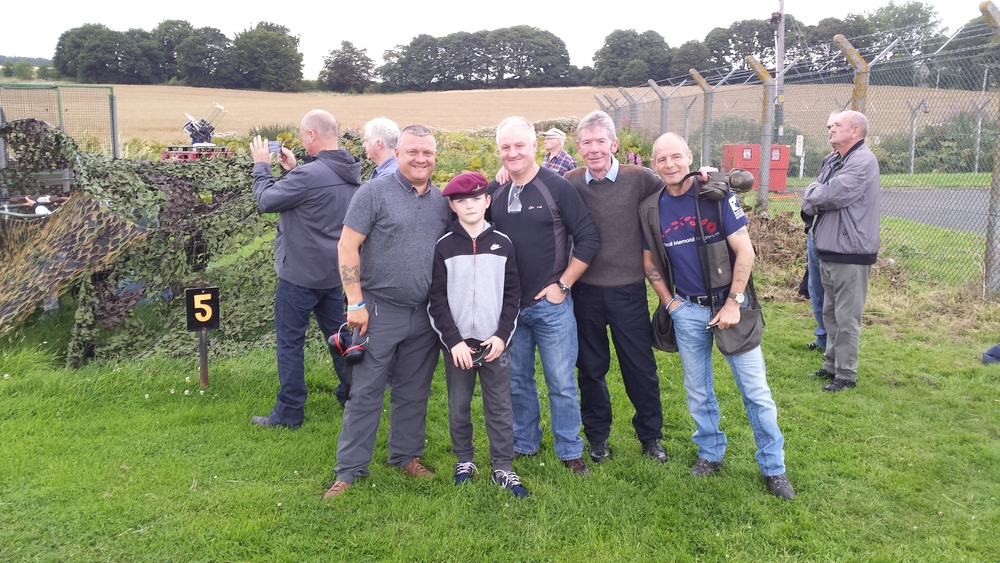 "Major Terry Mc Vey with ""OLD"" MUCKERS and his young Son"