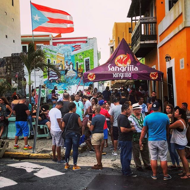 We're back in #sanjuan. It's not back to normal but it is full of passion and fun and friendliness nonetheless. #Sundayfunday continues even when the utilities don't, with live music, empanadas and sangria slushees a la generator.  #caribbeanstrong