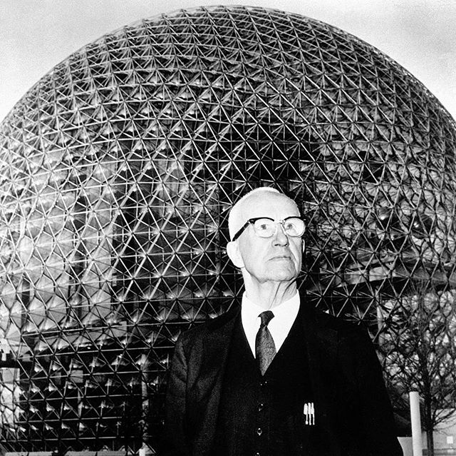 "This is Buckminster Fuller, all around genius and inventor of the geodesic dome. He once invented a shower head that sprayed such a fine mist it would clean a persons skin without the need for soap. The world wasn't ready for his soapless shower head, but such is the price of genius. In celebration of Buckminster Fuller tonight we're playing a rare ""acoustic"" set at the BUCKMAN performing arts center at 8PM. $15 at the door and all the geodesic domes you can eat. Be there or be square brooo!"