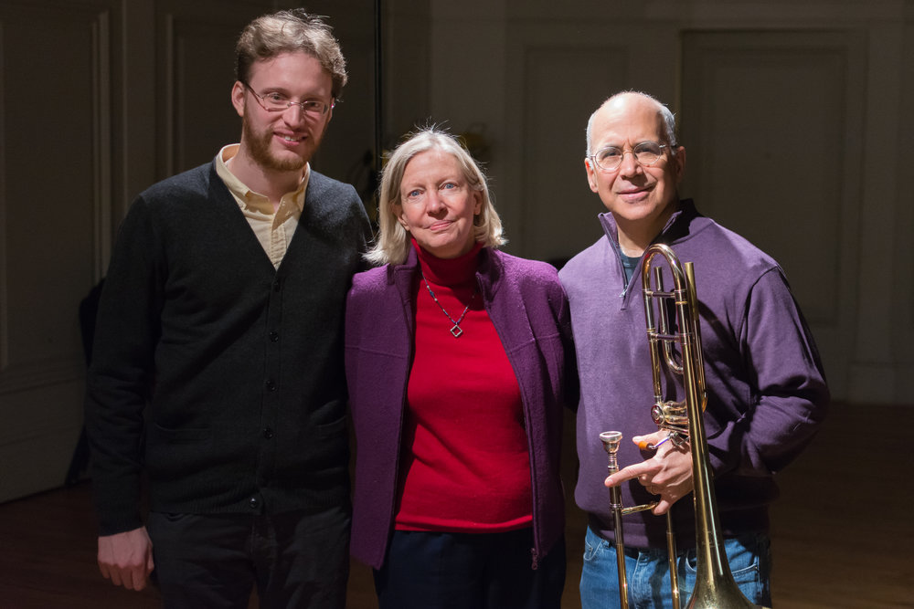 "Eric Nathan with Judith Sherman (producer) and Joseph Alessi (trombone) at the recording session of ""As Above, So Below"" (Photo credit: John Whitaker Photography)"