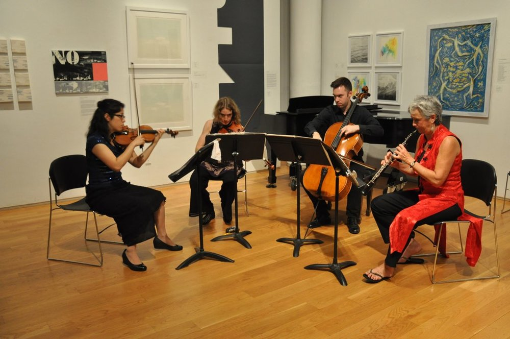 Peggy Pearson (oboe), Emilie-Anne Gendron (violin), Stephanie Griffin (viola), Michael Haas (cello) at the at Eric Nathan's Portrait Concert at the Tenri Cultural Institute (New York City). (Photo credit: Luyuan Nathan)