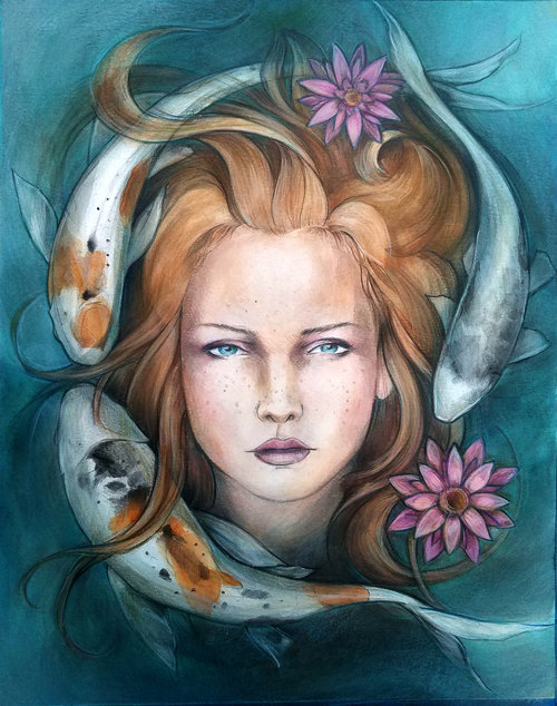 Coi Mermaid - This is one of my favorite paintings. I love the light freckling on the strawberry blonde and how it ties into the spots on the coi.