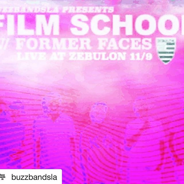 Can't wait for tomorrow night's show with @filmschoolmusic at @zebulonla presented by @buzzbandsla!!! We're on at 9 sharp. See you there 🤩 #formerfaces #losangelesmusic #silverlakemusic #supportlocalmusic #indierock #psychrock #livemusic #rockyourfaceoff