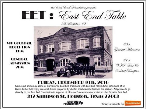 NEXT FRIDAY: East End Houston is serving up a hearty helping of local heritage, history & flavor at 2016's final EET Benefit Dinner!  The Dec. 9th event is being hosted at Historic Firehouse #2 by the East End Foundation, with all profits benefitting projects & initiatives of the TCA-appointed East End Cultural District. ➰ #eehou #dohougood #historichouston #historico #eastendhouston #eastendtable #getintheloophouston #houstonfood #houstonfoodie #houstontx #houston #houstonevent #houstonevents #houstonmua