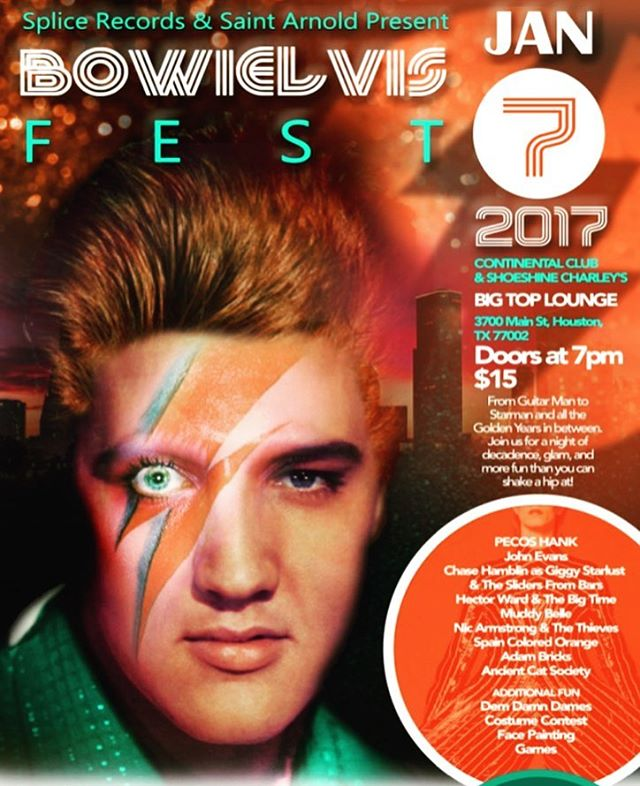 THIS SATURDAY: BowiElvis 2017 is going down just downstairs from #theinnerloop HQS at #continentalclubhouston & #shoeshinecharleysbigtoplounge — come out for a rockin' good time, catch a rarely-ever-seen #spaincoloredorange cover set of #davidbowie / #elvispresley tunes — AND MOST IMPORTANTLY, #supportlocalmusic 🎶 Big props to #houston hometown heroes #splicerecordstx & #saintarnolds for co-sponsoring the event & we'll see you all there!! ❤️🤘🎵 #houstontx #houstonmua #houstonmusic #houstonconcerts #bowie #elvis #bowielove #elvislive #houstonband #listentosco #dohougood #houstonnightlife #houstonevents #houstonevent #houstoncity #coversong #coversongs #musicfestival #musicfest #texasmusic
