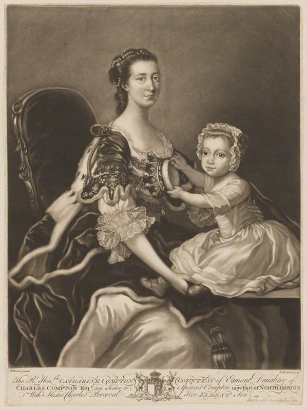 NPG D2382; Catherine Perceval (nÈe Compton), Countess of Egmont; Charles George Perceval, 2nd Baron Arden by James Macardell, after  Thomas Hudson