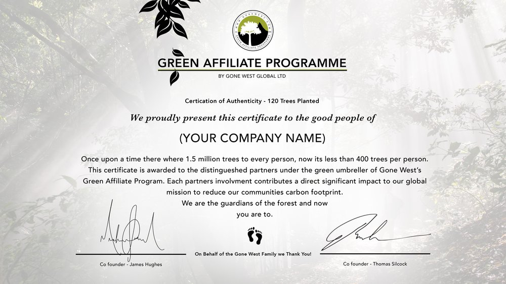 Item 3: Certificate of Authenticity, SIGNED BY THE FOUNDERS OF GONE WEST.