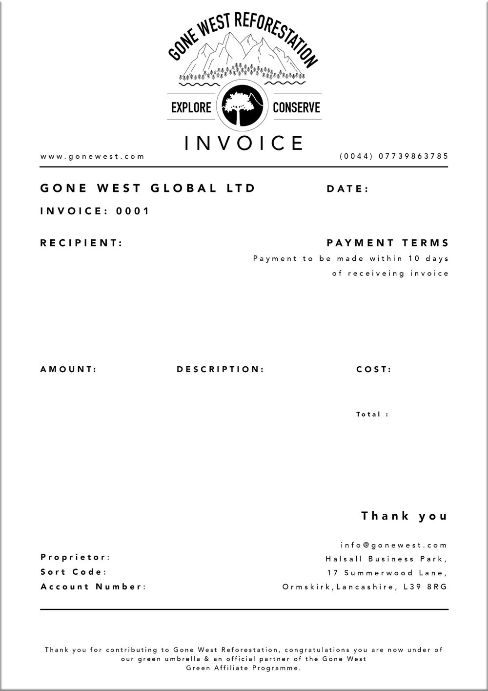 Invoice Print Excel Green Affiliate Programme  Gone West What Is Certified Mail Return Receipt Word with Ms Word Receipt Template Word Invoice  Tax Receipt Receipt Letter For Money Received Excel