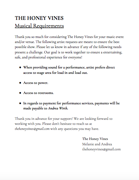 Artist Requirements - Includes artist requirements and performance needs