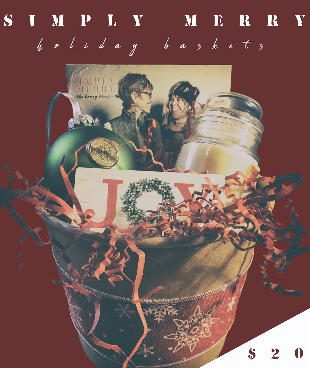 Simply Merry Holiday Gift Baskets - Have a special friend or co-worker that you want to gift this Christmas? Pre-order a gift basket and pick up at Honey Vinyl Music Studio on November 11th!