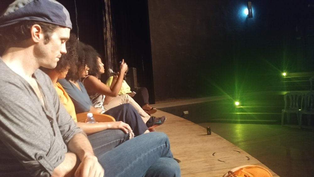 Antu speaking at the talkback after  Mourning Sun