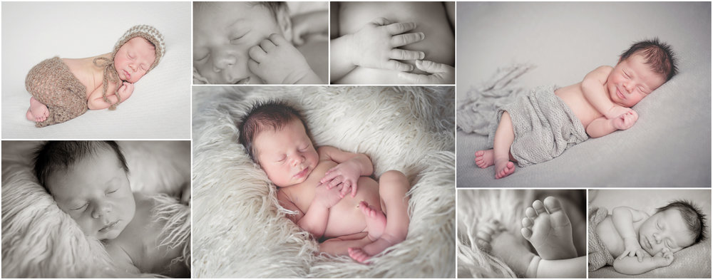 A collage of newborn baby photos.