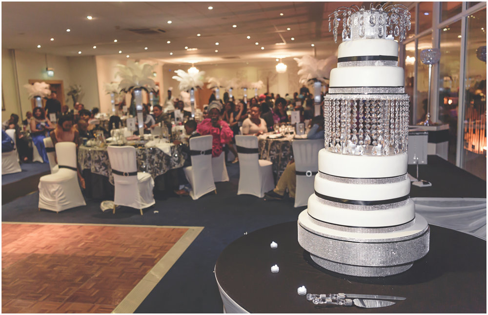 monochrome and crystal wedding cake at a northamptonshire wedding venue