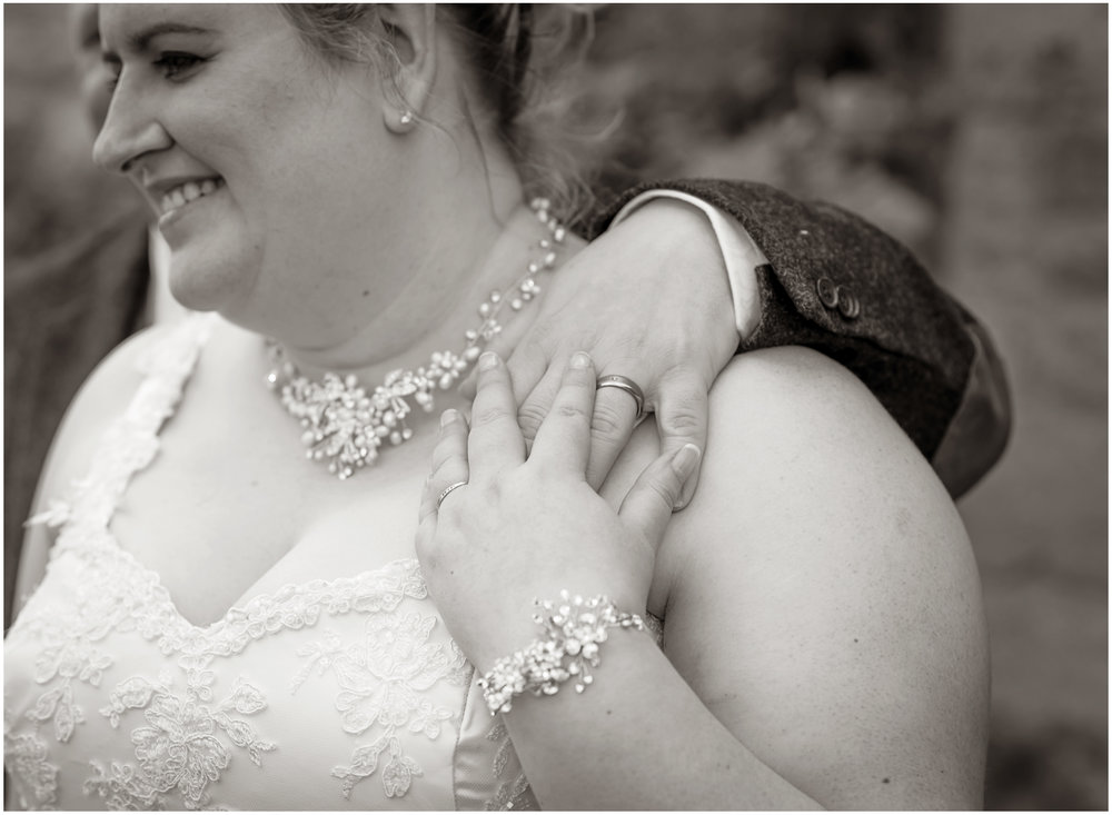 A romantic newlywed portrait highlighting the rings
