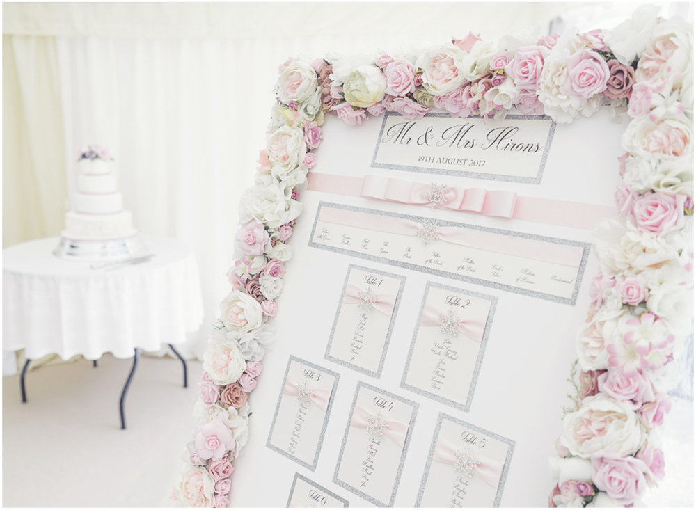 Floral tableplan in The Barn, Sulgrave Manor