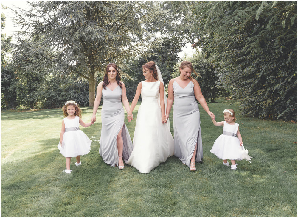 bride, bridesmaids and flowergirls