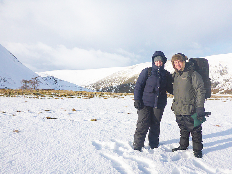 Louise and David during a Mountain Hare shoot in the Scottish Highlands