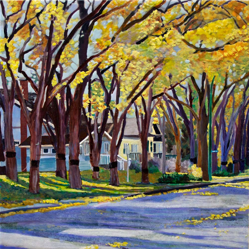 "Avenue in Autumn, 10"" x 10"", 2015"