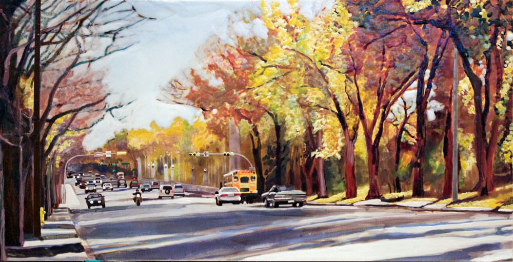 "Regina in Autumn, Albert the Bridge, 10"" x 20"", 2015"