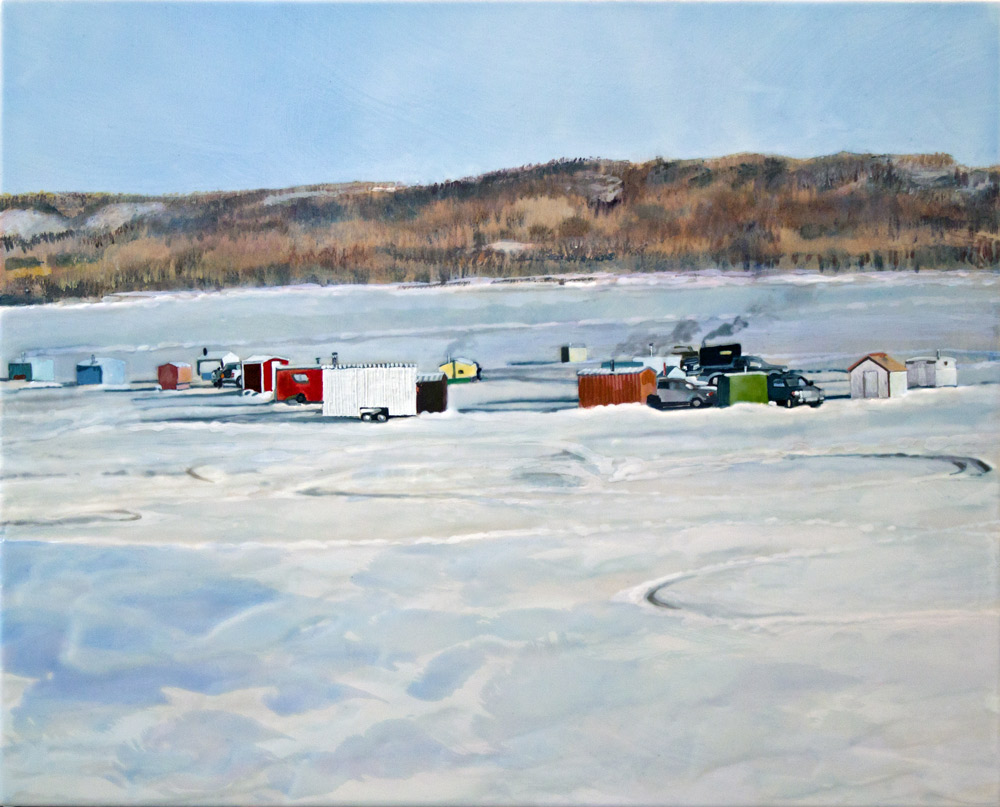 "Ice Shacks, 16"" x 20"", Acrylic Panel, 2016"