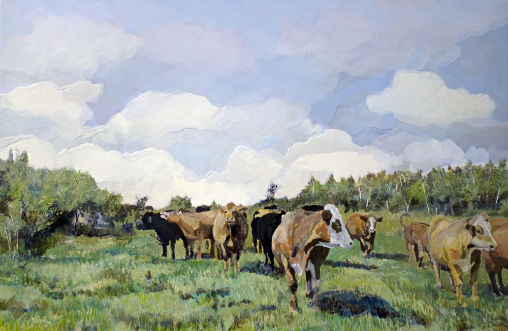 "Cows for G, Acrylic Panel, 24"" x 36"", 2016"