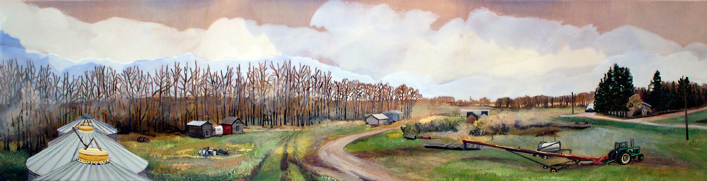 "Farmyard, 12"" x 48"", Acrylic Panel, 2016.jpg"