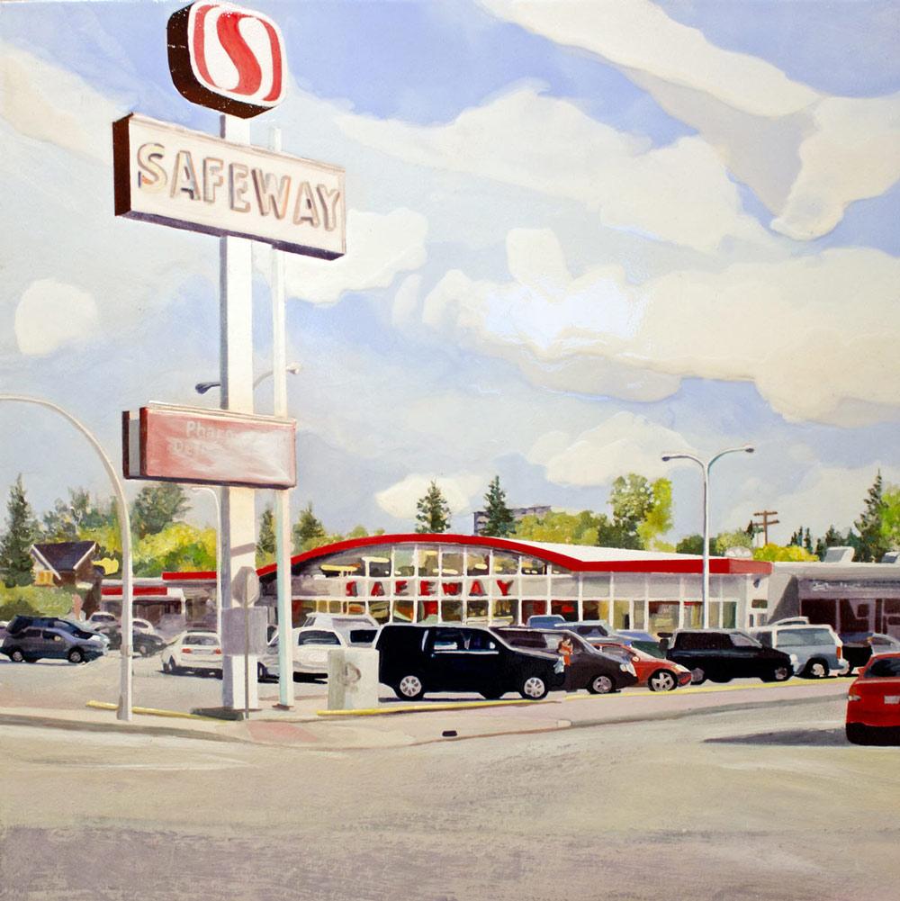 "Safeway Clerks, 24"" x 24"", Acrylic Panel, 2016"