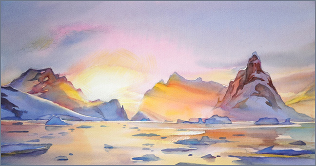 """Lemaire Channel Sunset"" 7in x15in watercolour"