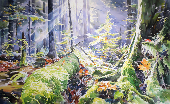 Autumn in the Pacific Spirit Forest, 26in x46in. watercolour
