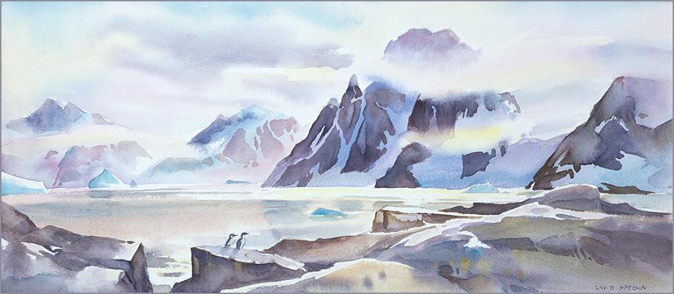 From Petermann Island, 12 x 22 inches, watercolour