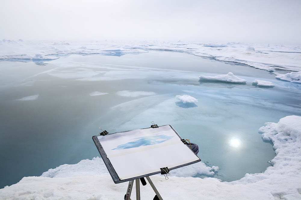 Easel setup on sea ice at the North Pole