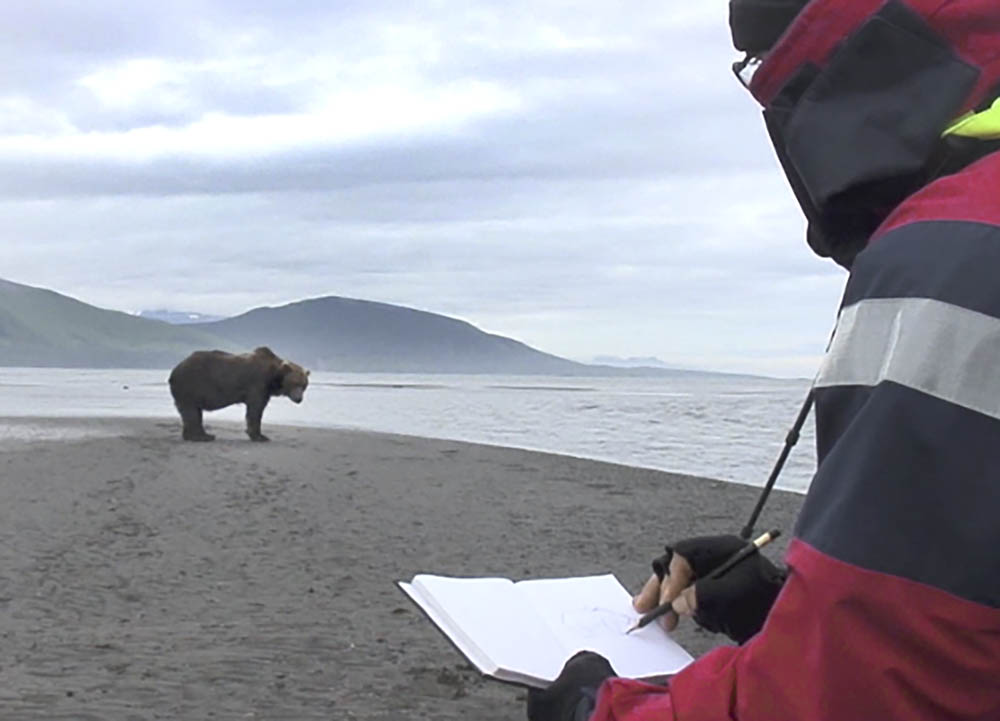 Sketching Grizzly bear on location!