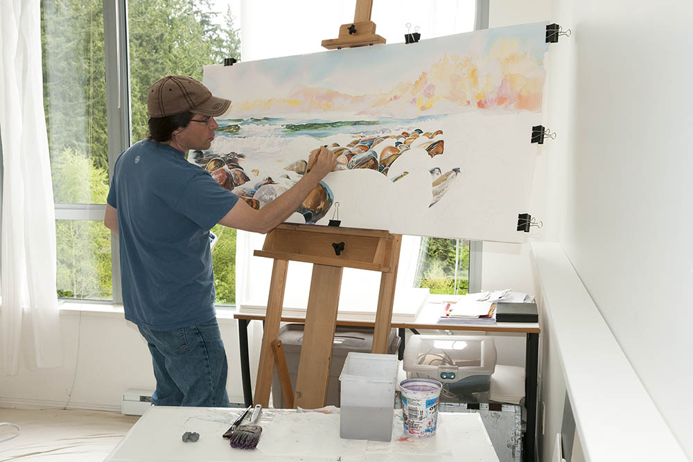 David painting in his Vancouver studio