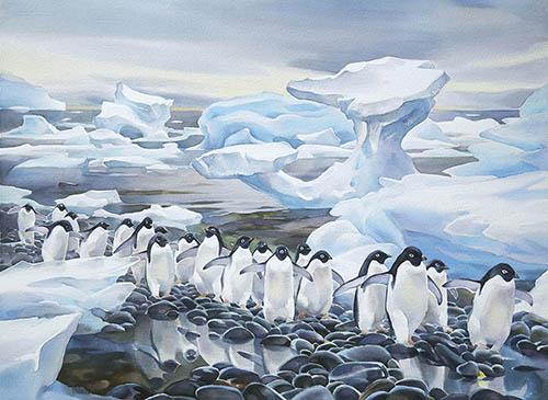 Antarctic Shoreline, 22in. x 22in. watercolour