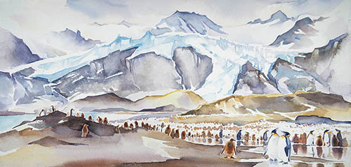 The Gathering at Gold Harbour, 12in. x 22in. watercolor