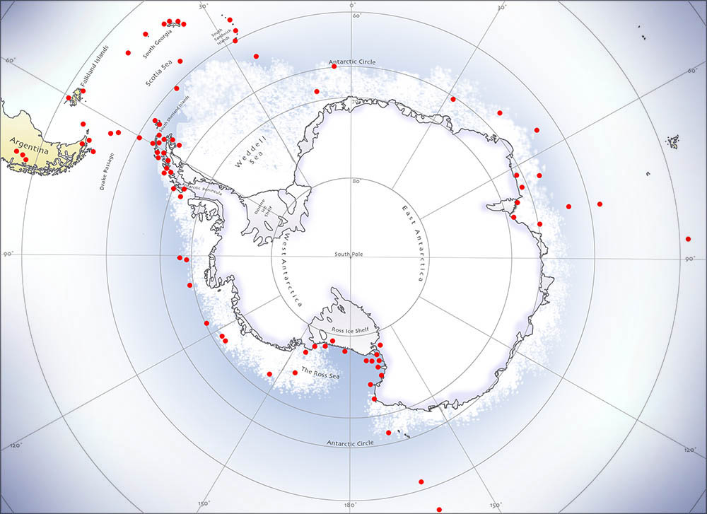 Antarctic painting locations by David McEown